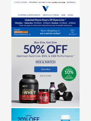 BOGO 50% on Optimum proteins & power-ups