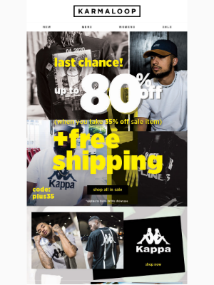 Last call for up to 80% Off + FREE Shipping!