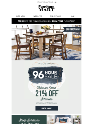 The Furniture Mart - ENDS IN HOURS! Extra 21% off