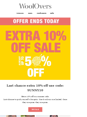 Ends Today - Extra 10% Off Summer Sale. Don't Miss Out.