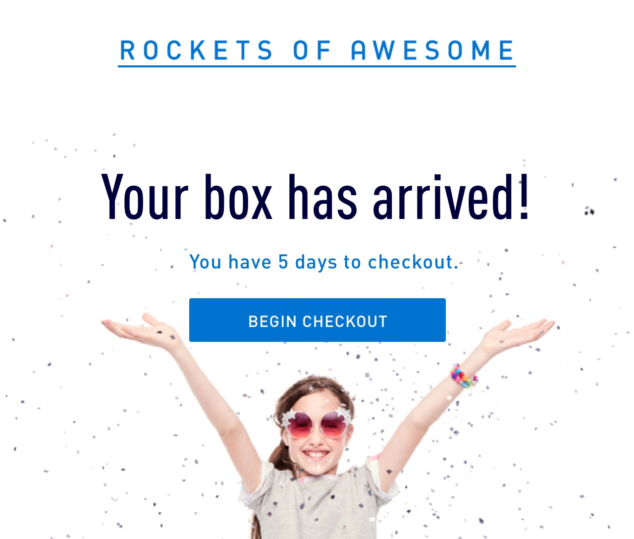 Hooray! Your box has arrived. You have 5 days to checkout. Keep what you love. send back what you don't.