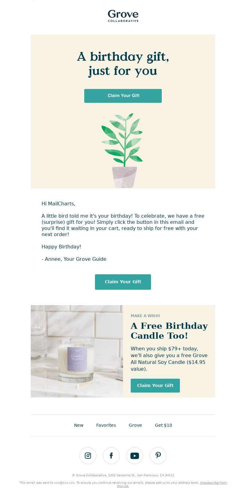Birthday email example from Grove Collaborative