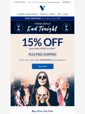 Vitamin Shoppe - 15% off high-quality nutrition ends tonight