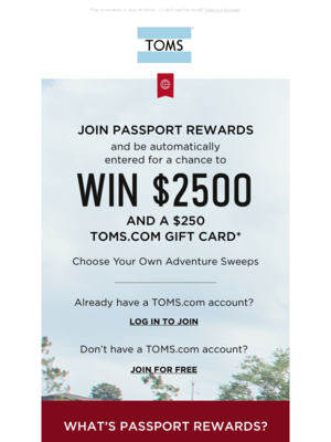 Join Passport Rewards today for a chance to win