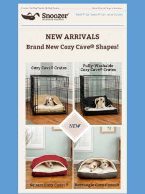 Snoozer Pet Products - New Arrivals: Brand New Snoozer Cozy Caves® Are Here!