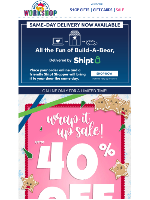 Build-A-Bear Workshop - Two Days Left: 40% Off Select Gifts!
