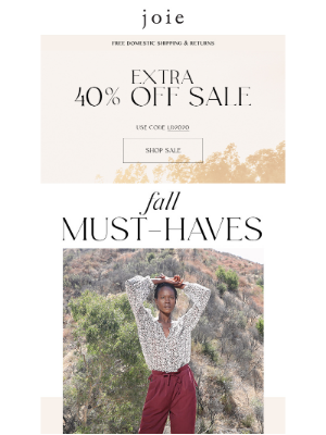 Joie - Fall Must-Haves + 40% Off Sale