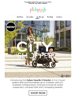PishPoshBaby - You'll find it all in the NEW Cybex Gazelle S Stroller!