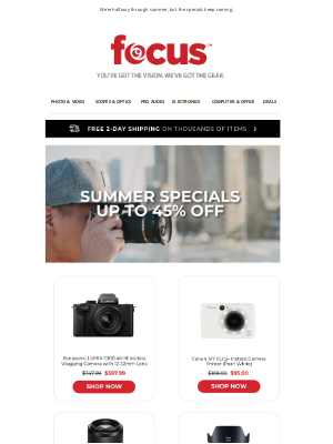 Focus Camera - Sweet Summer Specials 😎 | Shop Now & Save