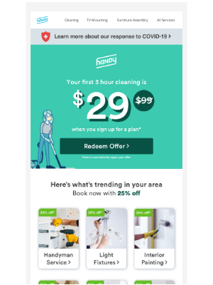 Handy - Start your week with a discount on your first cleaning