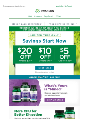 Swanson Health Products - Save when you stock up | $20 off $75, $10 off $45 or $5 off $25 inside