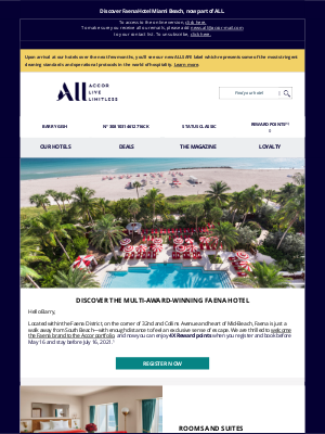 Accor Hotels - Barry, earn 4X Reward points at Faena Hotel Miami Beach!