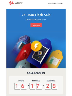 24-Hour Flash Sale! Courses starting at $12.99.