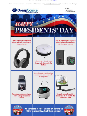 CompSource - Special Presidents' Day Sale!