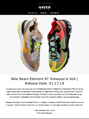 Releases: Nike React Element 87 Orewood & Volt