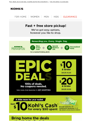 Kohl's - Shop EPIC DEALS + refresh your space for fall.