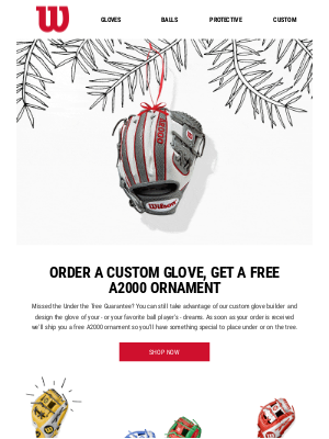 FREE A2000 Ornament with Custom Glove Orders