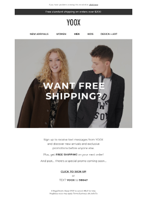 YOOX - FREE SHIPPING on your next order!