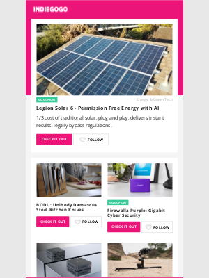 Indiegogo - Energy-Boosting Perks