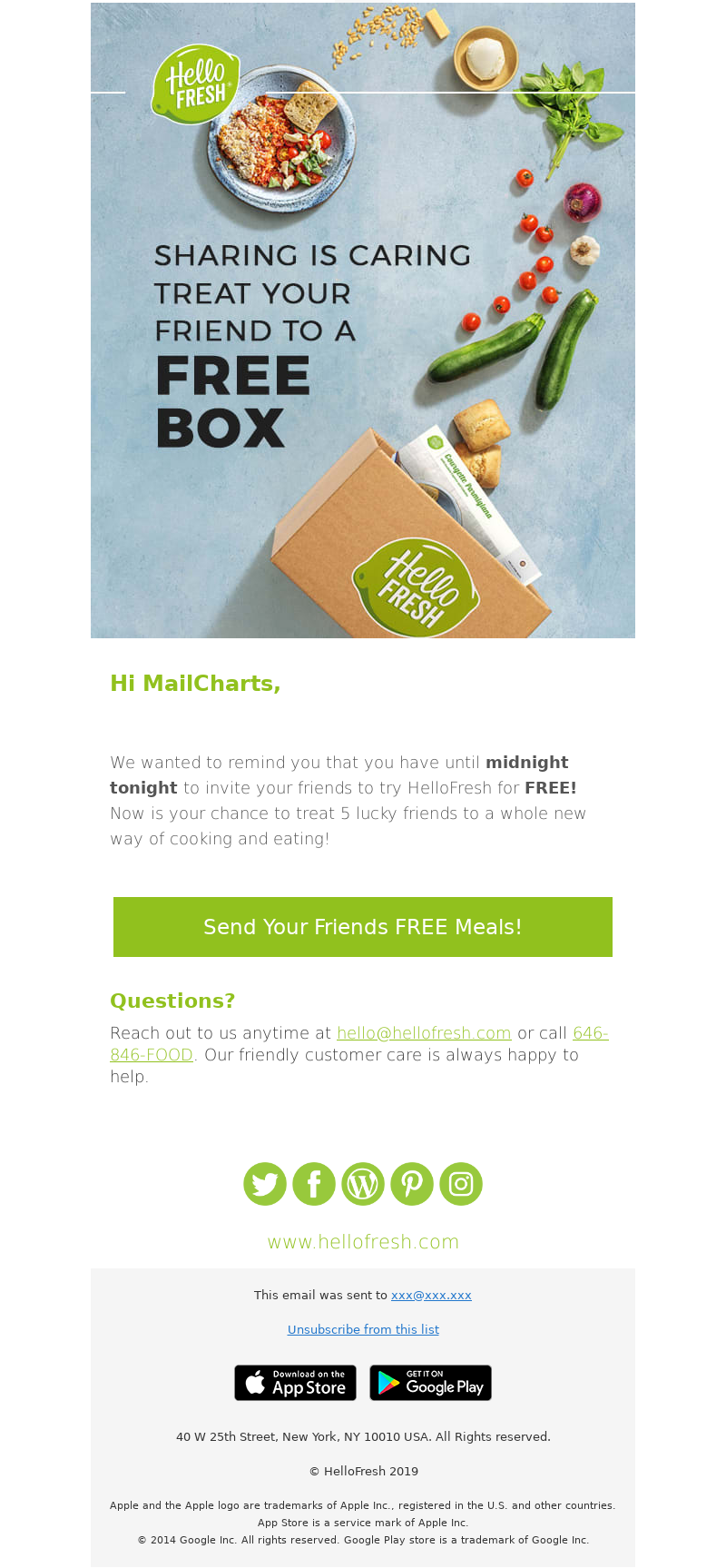 HelloFresh USA - [REMINDER] MailCharts, you UNLOCKED invites to feed your friends!