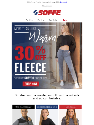 Soffe LLC. - Fleece for Fall + Free Shipping on Orders $30+