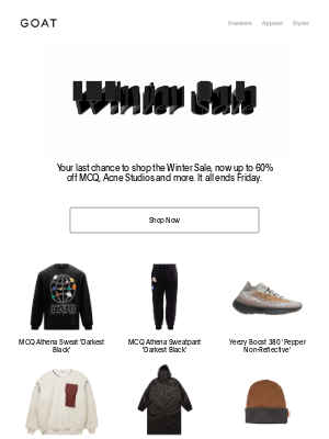 GOAT - Winter Sale: Last chance at up to 60% off