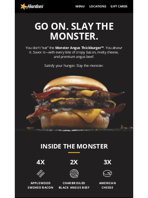 Hardee's - The Monster Angus Thickburger is made to devour.