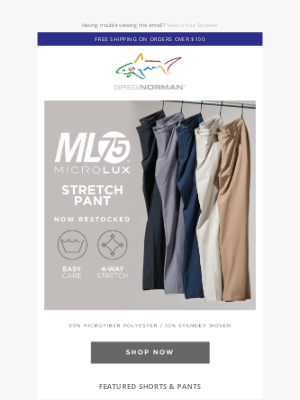 Greg Norman Collection - The ML75 pant now restocked