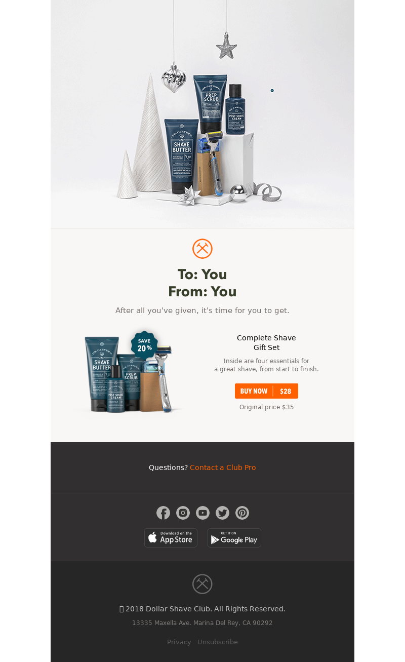 Christmas email design for gift exchange