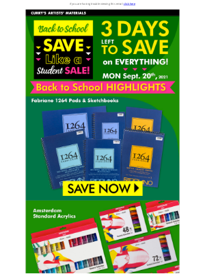 Curry's Art Store (CA) - 3 Days Left to Save - Don't Wait!