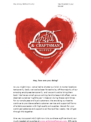A note from Artist & Craftsman Supply