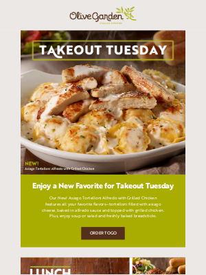 Olive Garden - We've got a NEW favorite for Takeout Tuesday!