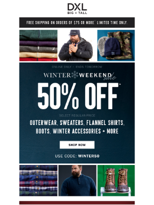 DXL - 50% Off Winter Favorites Like Columbia, Nautica + More! Brrring On The Cold, We'll Brrring On The Savings!