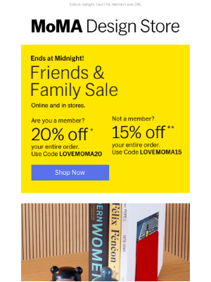 Museum of Modern Art Store (MoMA) - Almost Over! Friends & Family Sale