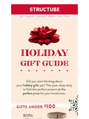 Structube (CA) - Find the perfect present with our holiday GIFT GUIDE. 🎁