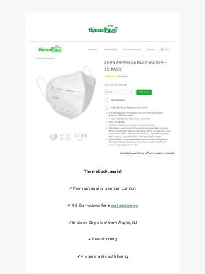 Genius Pack - KN95 Masks back in stock, again!