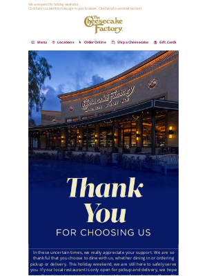 The Cheesecake Factory - We are So Thankful for You!