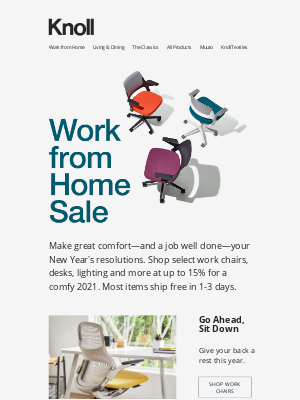 Knoll - Start the New Year Right with our WFH Sale.