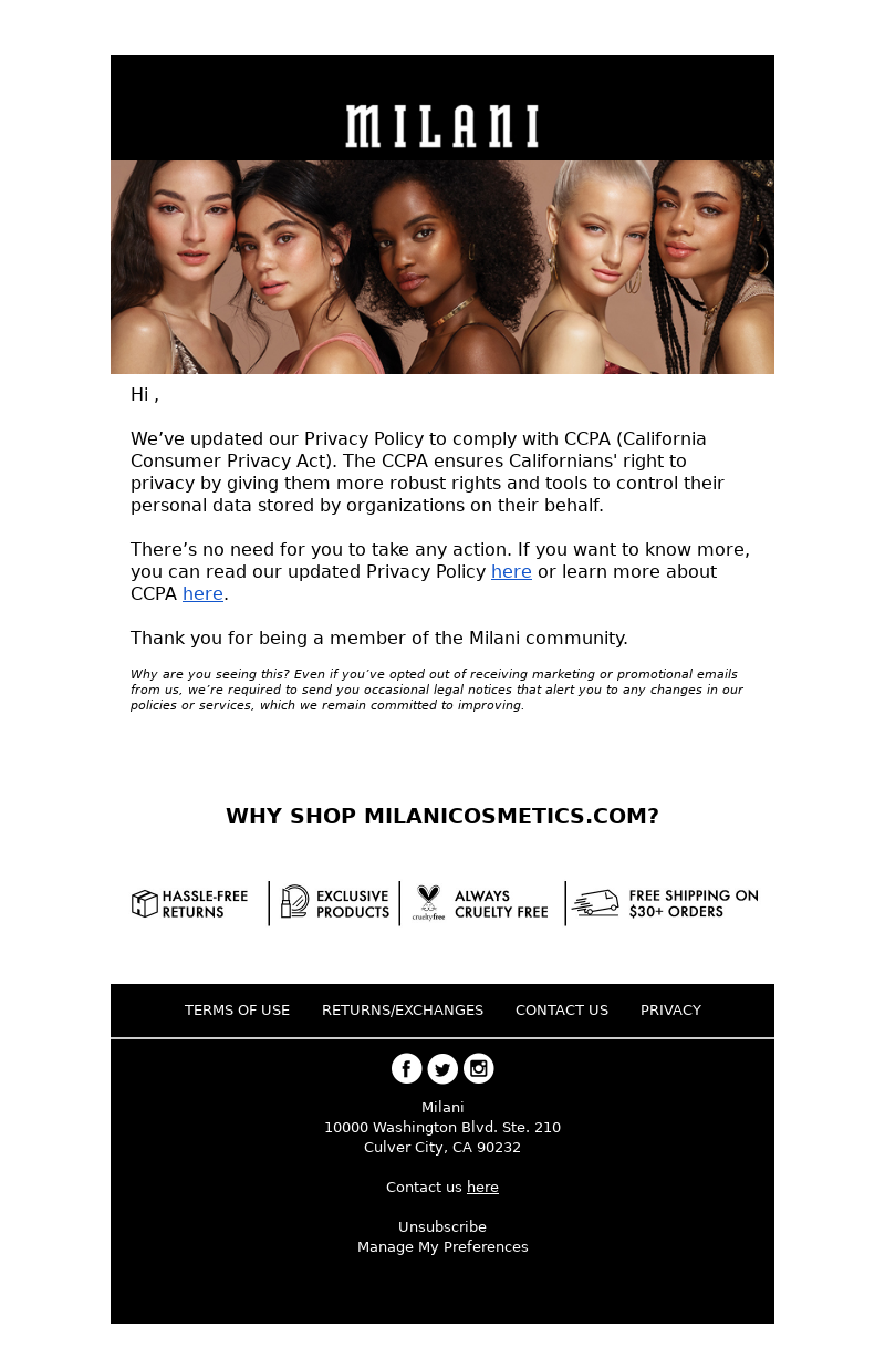 Milani - Update to our Privacy Policy