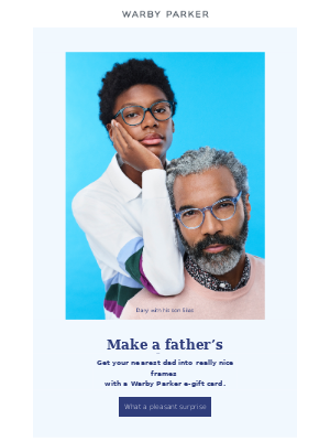 Dads love Warby Parker gift cards