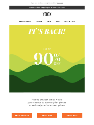 YOOX - It's back! Up to 90% OFF starts again NOW