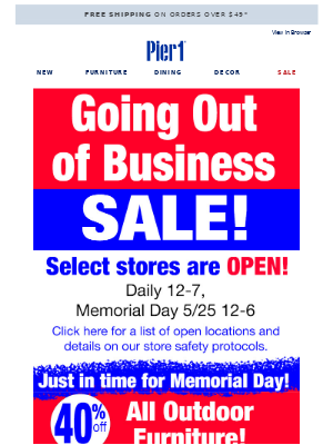 Going Out of Business Sale Starts TODAY!