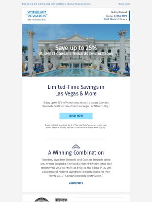 Wyndham Hotel Group - Save up to 25% at a Caesars Rewards Destination