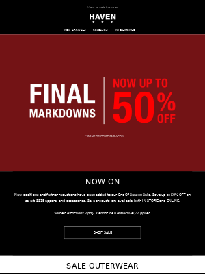 SALE: FINAL MARKDOWNS | Up to 50% Off