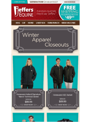 Jeffers Pet Supplies - Save 35% on Winter Apparel Closeouts!