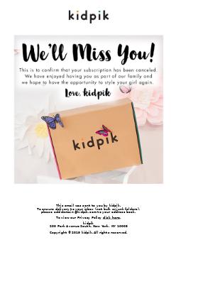 Kidpik - MC Junior's Subscription Has Been Canceled