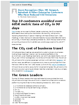 [New post] Zoom Recognizes Uber, HP, Genpact, Autodesk & Other Enterprise Customers Who Have Reduced CO2 Emissions