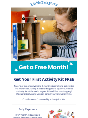 Little Passports, Inc. - Last Chance to Get Started with ONE FREE MONTH on any 6-Month Monthly Subscription