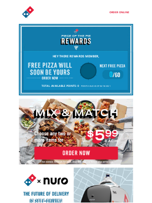 Domino's Pizza - Rewards Member: Never let your 🍕 be lonely