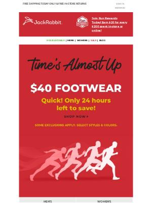 Jackrabbit - Final 24hrs of $40 footwear sale!
